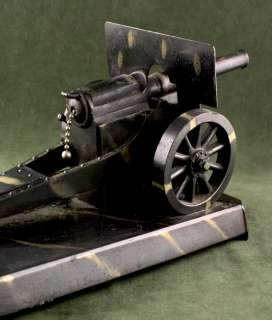LARGE FIGURAL TABLE TOP NOVELTY LIGHTER DEMLEY HOWITZER WWI CANNON