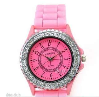 Classic Gel Silicone Band Crystal Men Lady Jelly Wrist Watch