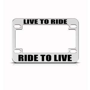 Ride To Live Metal Bike Motorcycle license plate frame Holder