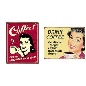 Nostalgic Coffee Humor Tin Metal Sign Bundle   2 retro