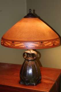 Handel Tiffany style Arts & Crafts Reverse Painted Lamp Limbert