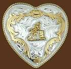 German Silver Ladies Barrel Racing Heart Shaped Western Rodeo Belt