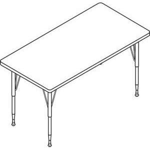 HON Rectangle Activity Table with Short Black/Chrome Legs