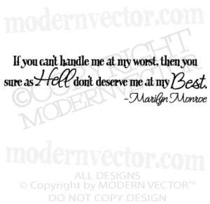 MARILYN MONROE Quote Vinyl Wall Decal CANT HANDLE ME