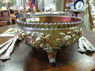 Imperial Luster Rose Three Footed Carnival Glass Bowl