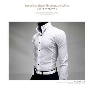Mens Slim Fit Casual Basic 3button point white Shirts *New arrival