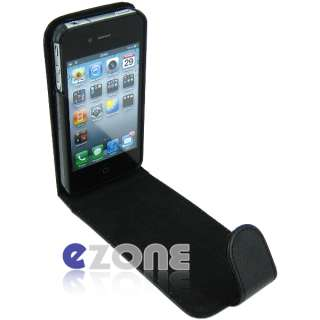 BLACK FLIP Leather Hard Case Cover Pouch F iPhone 4s 4 4g free screen
