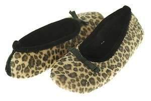 New ISO Isotoner Slippers Ballet Indoor Outdoor Sole Animal Print
