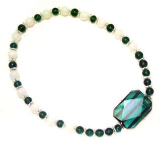 Vintage ART DECO Necklace Emerald Green Sterling Silver