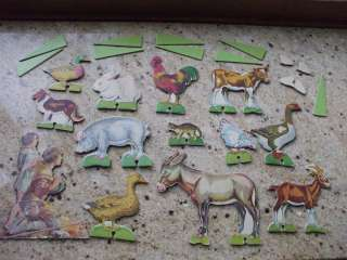 Vintage Farm Toy Animals Play Set   Heavy Cardboard Stand Up Animals