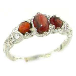 Ladies Solid White Gold Natural Cabochon Garnet English
