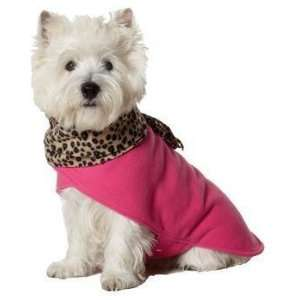 Fashion Leopard Scarf Coat Hot Pink XS