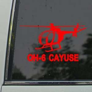 OH 6 Cayuse Helicopter Red Decal Truck Window Red Sticker