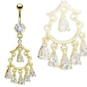 Cz clear Gem Pretty Gold Plated Chandelier Belly Ring Navel piercing
