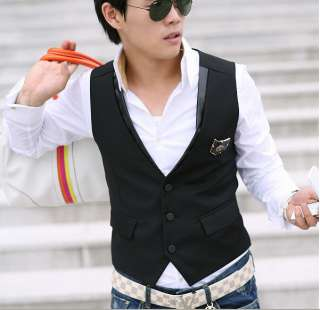 2011 Korean Mens Design Slim fit Vest Black M L XL