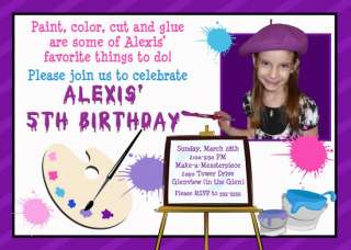ART PAINTING COOKING BIRTHDAY PARTY INVITATIONS