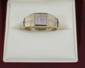 Mens Husband Diamond Ring GENUINE 16 REAL DIAMONDS Yellow Gold 0.25