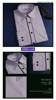 MENS WHITE BLACK LINE SEMI SLIM FIT DRESS SHIRTS .341