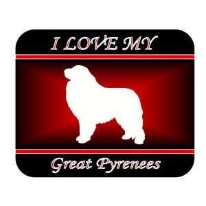 I Love My Great Pyrenees Dog Mouse Pad   Red Design