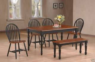 Antique Black / Cherry Wood Farmhouse Dining Table Set