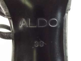 Womens shoes black leather dress Aldo 38 8 M heels stiletto