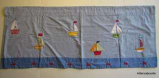 Pottery barn Kids Baby Boats Boy Nursery Window Valance Blue Sail