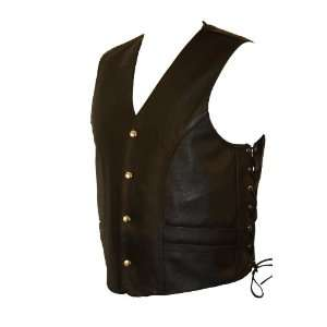 Mens Rounded Bottom Side Lace Vest w/ Dual inside Gun Pockets and