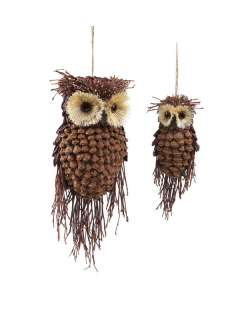 Set 12 Rustic Owl Pine Cone Christmas Ornaments