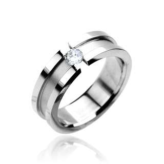 Stainless Steel Ring with CZ center Band Ring, Wedding Ring Fr Sz5 ~13