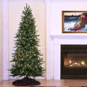 Pre Lit Tiffany Spruce Slim Artificial Christmas Tree   Clear