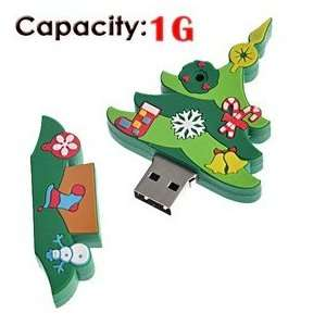1G Rubber USB Flash Drive with Christmas Tree Shape (Big