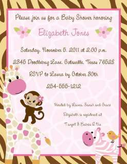 24 Jungle Jill Monkey Safari Baby Shower Invitations