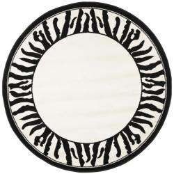 Collection Zebra Border Black/ White Rug (5 3 Round)