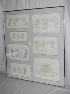 7pc Original Disney Pencil Drawings Mickey Minnie MORE+