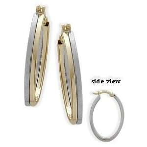 10 Karat Two Tone Gold Hoop Earrings Jewelry