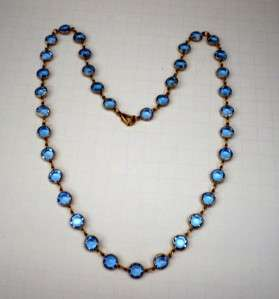 Vintage Open Back Beautiful Blue Bezel Set Dazzling Crystals Necklace