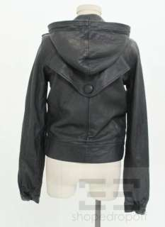 Mike & Chris Blue Leather Hooded Zipper Jacket Size Medium NEW $828