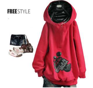 Casual Red Big Feet Thick Fleece Warm Hooded Sweater Coat Hoodies