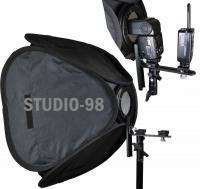 TWO 24x24 LOCKABLE SHOE MOUNT SOFTBOX FOR POCKET WIZARD PLUS CANON
