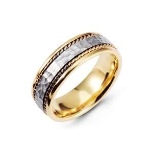 Hammered Two Tone 14k Yellow White Gold Wedding Band Jewelry
