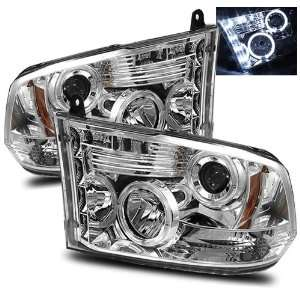 09 10 Dodge Ram 1500 Chrome LED Halo Projector Headlights Automotive