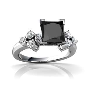 Square Cut 14K White Gold Black Onyx Engagement Ring  Jewels For Me