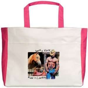 Beach Tote Fuchsia Country Western Cowgirl Save A Horse Ride