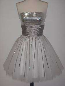 Sexy Short Prom Cocktail Party Dress White & Silver XL
