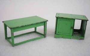 Tootsie Toys Green Metal Dollhouse Miniatures Furniture 2pc Lot