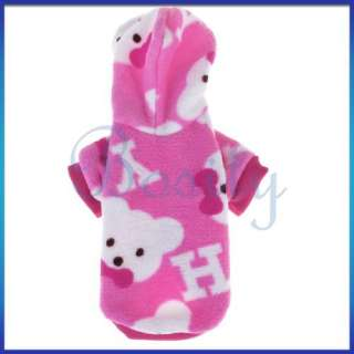 WARM FLUFFY HOODIE PUPPY PET DOG PAJAMAS COAT CLOTHES S