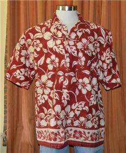 QUIKSILVER RED TAN CASUAL HAWAIIAN SHIRT MENS LARGE NWT