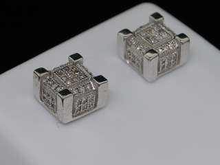 MENS WHITE GOLD FINISH PAVE DIAMOND CUBE STUD EARRINGS