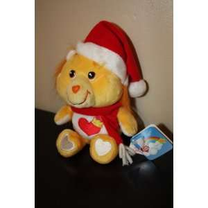 Brave Heart Lion Care Bear Cousin Dressed with Santa Hat and Red Scarf