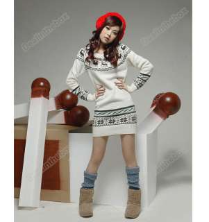 New Soft Women knit Pullover Jumper Top Snowflake Deer Sweater dresses